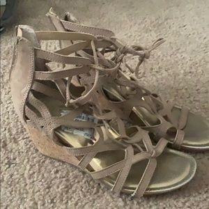 Taupe lace up wedges size 7.5